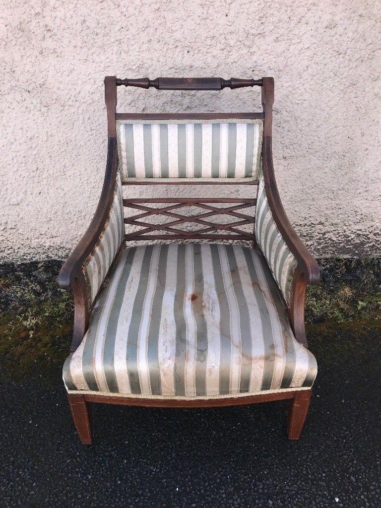 Edwardian inlaid arm chair