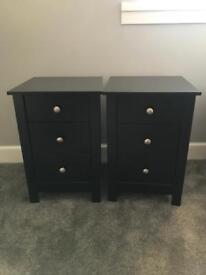 2 x Black Bedside Cabinets