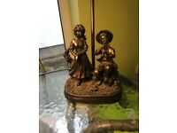 FREE bronze table lamp Juliana Lighting Collection, girl and boy figurines, no shade