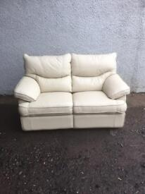 Cream leather reclining suite * free furniture delivery *
