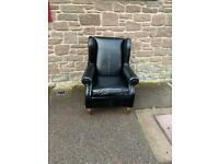 Black leather wingback armchair * free furniture delivery *