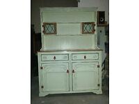 Vintage Shabby Chic Country Kitchen Dresser - Oak + Mahogany