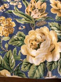 Pair of blue and golds floral inter lined curtains pencil heading