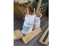 3 large sack bags full of dry wood off-cuts - ideal for log burner/fire pit use etc