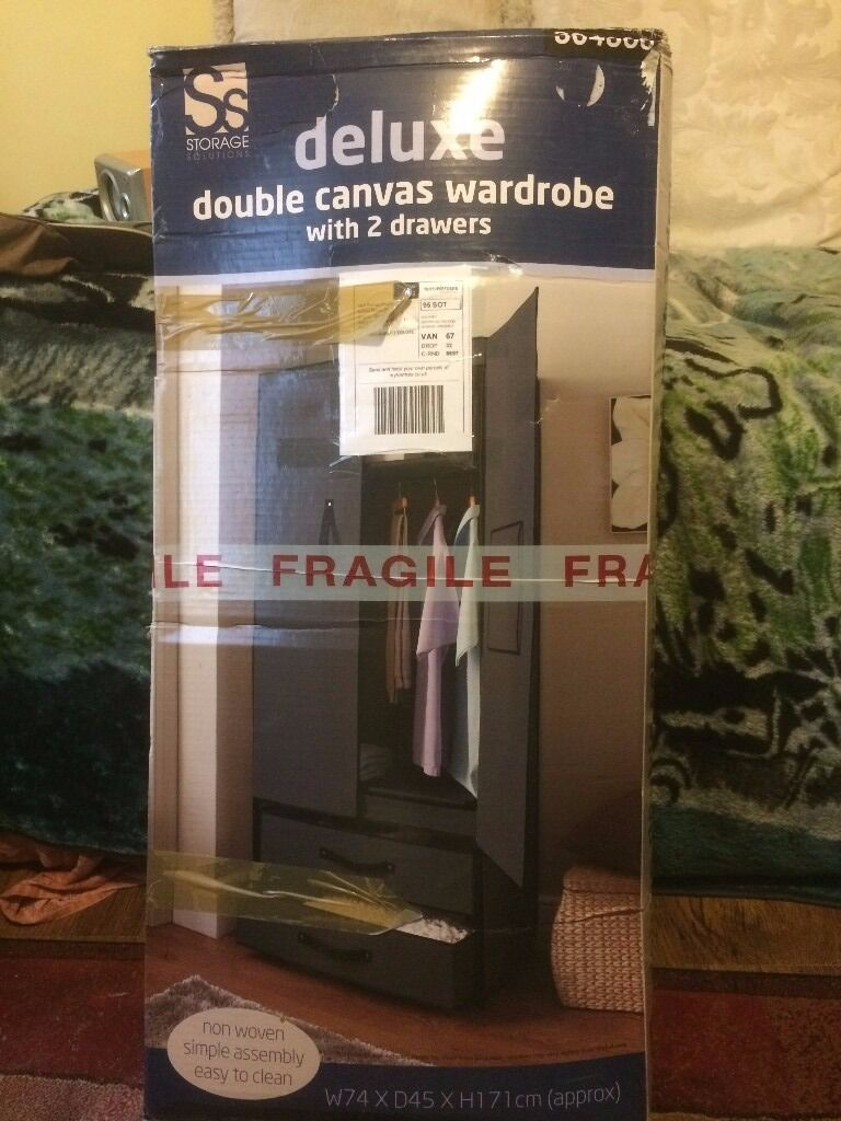 2 DOOR DELUXE CANVAS WARDROBE WITH OPENING DOORS DRAWER BLACK HIGH QUALITY NEWin Bognor Regis, West SussexGumtree - 2 DOOR DELUXE CANVAS WARDROBE WITH OPENING DOORS DRAWER BLACK HIGH QUALITY NEW .collection only
