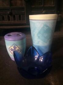 3 blue bathroom items