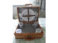 Wickerwork Picnic Hamper set for 4 people As New -Superb Unused Condition.