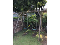 Wooden dual swing set with additional tyre swing - urgent collection