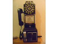 Wild & Wolf 1950s Retro American Diner Phone Black