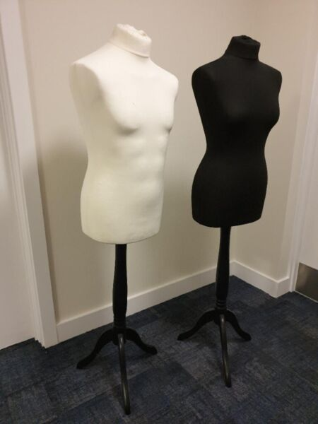 Two Tailors Dummies (male & female) on Wood Stand for sale  Islington, Kings Cross