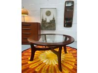 Vintage 1960's 'Stateroom' Circular Glass Top Coffee Table by Stonehill of London