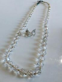 Beautiful Vintage Clear Crystal Glass Multi Faceted Art Deco Beaded Necklace & Earring Jewellery Set