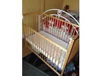 Wooden Baby cot and free mattress protector