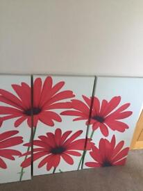 Set of 3 large red floral canvasses from Next