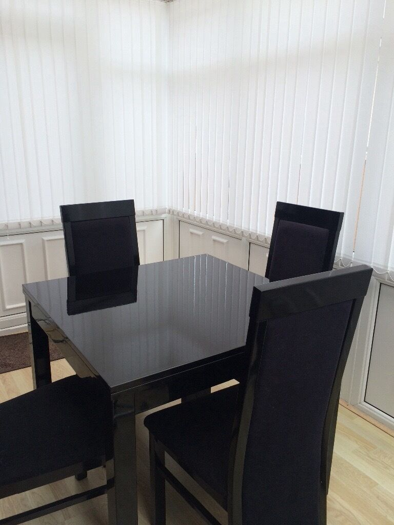 Black Gloss Extendable Dining Table Tables