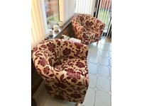 Four tub chairs perfect condition - fabric