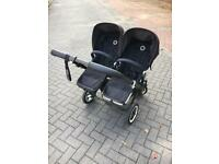 Bugaboo Donkey twin buggy. All black