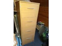 Home Office Desk, Filing Cabinet & Pedestal Drawer Set - Beech Effect