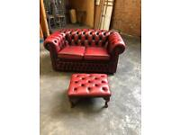 2 seater oxblood chesterfield sofa with matching footstool