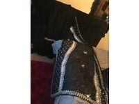 Black and silver stone saree