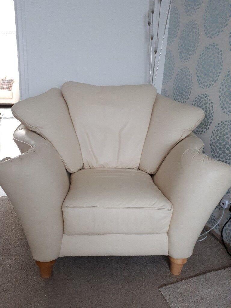 Soft italian cream leather 2 seater sofa & armchair