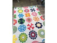 IKEA CHILDRENS RUG LUSY BLOOM FLORAL RED GREEN BLUE PLAYROOM BEDROOM CARPET RETRO 70'S STYLE