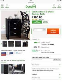 Venetian black 3 drawer bedside table X 2