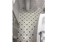 White & Grey Ceramic Floor Tiles