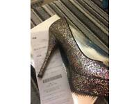 High heels. Size 6. multi-colour glitter heels