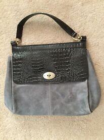 Brand new grey suede leather handbag