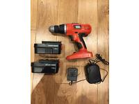 Black & Decker cordless drill with 2 batteries