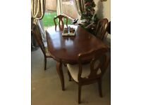 Large extending Christmas dining table & 4 chairs - can easily sit 10