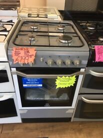 INDESIT 50CM ALL GAS COOKER IN SILIVER