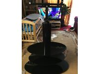 Black glass TV stand with adjustable Mount