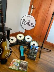 The Beatles Rock Band Drum Kit Guitar Controller & Game Bundle Xbox 360