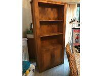 Solid oak furniture. A bookcase and a computer cupboard