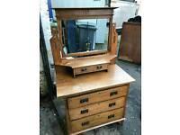 Solid Oak Dressing Table Vintage