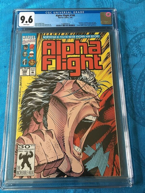 Alpha Flight #106 - Marvel - CGC 9.6 NM+ White Pages - Northstar gay revelation