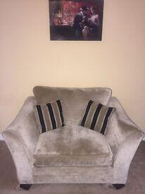 Snuggler loveseat brushed velvet armchair from furniture village