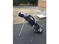 Full set of left handed golf clubs plus carry bag
