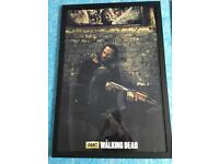 3x the walking dead framed posters