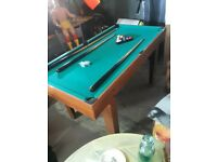 Pool table, balls and 3 pool cues