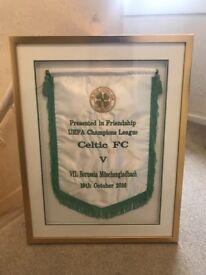 Unique Celtic memorabilia - framed champions league match day pennant
