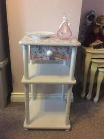 Pretty upcycled side table, lamp table. Bedroom bathroom nursery pink shabby chic upcycled drawer