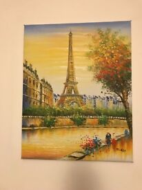Hand painted canvas (Paris / Eiffel Tower)