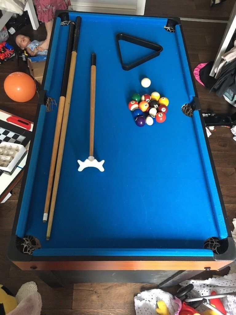 Pool table 4in1 includes: pool table, table tennis, air hockey and game board. Good condition