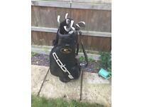 Golf tour bag and clubs