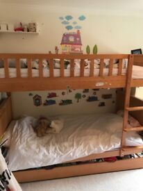 ASPACE wooded bunk bed and 2 mattresses for sale