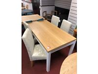 Castletone extendable dining table 190cm long with 4 fabric chairs