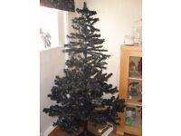 black christmas tree and lights